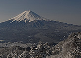Scenic view of Mt Fuji and surrounding area.