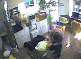 Live webcam view from inside a Japanese barber shop.