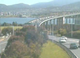 Traffic webcam looking over the Tasman Bridge, Derwent River, Hobart and Mount Wellington.