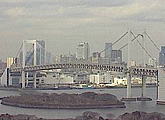 A live view of the Rainbow Bridge from Fuji television, Tokyo, Japan.