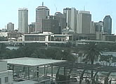 Live view of the Brisbane CBD from view from South Bank Parklands.