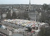 Live aerial view of Norwich Market, in the heart of the city.