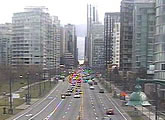 Traffic webcam on the approach to the Lions gate Bridge through the West End.