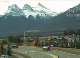 Live view of the Three Sisters from Canmore, Alberta.
