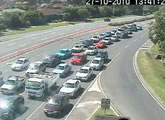 Traffic cam at Bermuda St and Nerang Broadbeach Rd, looking north.