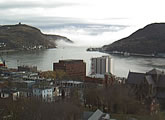 Webcam view of Duckworth Street with the harbour in the background.