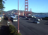 The approach to the Golden Gate Bridge, SF.