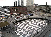 A wide view of this plaza in Stockholm
