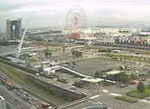 View of Odaiba, including the Daikanransha Ferris wheel.