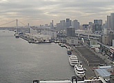 View of Rainbow Bridge and waterfront from Intercontinental Tokyo Bay, Minato-Ku.