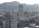 View of central Sapporo from the rooftop of STV Television.