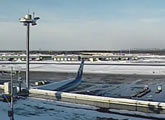View from a camera attached to the roof of the airport terminal.