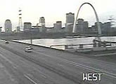 Traffic cam with partial St Louis Arch view..